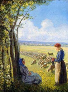 Shepherdesses - Camille Pissarro