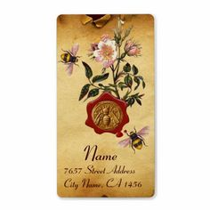 HONEY BEE AND WILD ROSES ,BEEKEEPER RED WAX SEAL PERSONALIZED PARCHMENT EFFECT SHIPPING LABELS