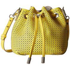 Steve Madden Bjckpot Mini Perf Bucket (Yellow) Cross Body Handbags (39 SGD) ❤ liked on Polyvore featuring bags, handbags, shoulder bags, yellow, purse crossbody, handbags purses, steve madden purses, crossbody shoulder bags and shoulder strap handbags