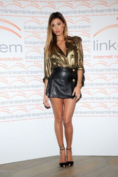 8246ed4dee2e Beautiful Women Wearing Mini Skirts (Belen Rodriguez in a black leather  mini skirt.