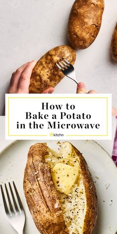 How To Bake A Potato In The Microwave Kitchn ; wie man eine kartoffel in der mikrowelle backt How To Bake A Potato In The Microwave Kitchn ; Baked Potato Microwave, Cooking Baked Potatoes, Easy Baked Potato, Microwave Baking, Potatoes In Oven, Baked Potato Recipes, How To Cook Potatoes, Microwave Recipes, Cooking Recipes