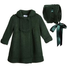 Foque Green Knitted Baby Coat & Bonnet Set at Childrensalon.com