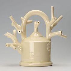White cut branch teapot