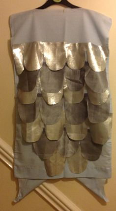 Fish costume for school play. Silver scales sewn/ glued onto pillowcase.