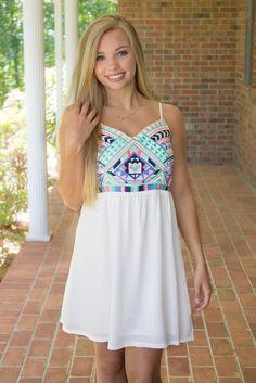 Pretty White Dress- Colorful Dress- Cute Summer Dresses