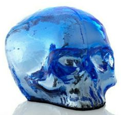 Kosta Boda skull votive blue