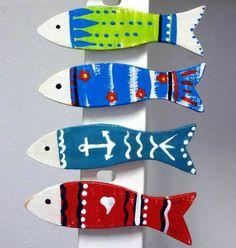 Set of 5 Fridge Magnets Wooden fishes magnets Handmade