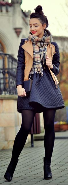 Basically Black + Plaid Scarf / Awe Fashion for Fall and Winter Street Style Inspiration