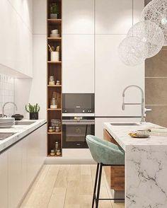 design de interior de cozinha com ilha \ design de interior de cozinha Kitchen Room Design, Modern Kitchen Design, Home Decor Kitchen, Interior Design Kitchen, Home Kitchens, Interior Design Boards, Cuisines Design, Küchen Design, Cabinet Design