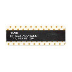 Amber Orange Polka Dots; Chalkboard look Custom Return Address Labels