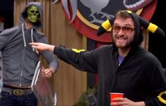 2spooky, Blaine in a glitter skull, MILES THAT HAD BETTER BE SOME FRIGGIN APPLE CIDER VINEGAR IN THAT RED SOLO CUP YOU DON'T NEED MORE ALCOHOL PLEASE LVOE YOURSELF Roster Teeth, Achievement Hunter, Red Vs Blue, Rwby, Favorite Person, How To Memorize Things, Solo Cup, Roosters, Cider Vinegar