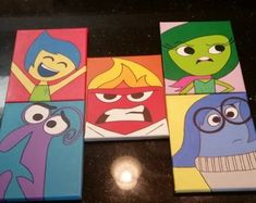 Anger From Disney Pixar's Inside Out Original Acrylic Painting - Head Shots By Artox - Hand Painted - Love With Faith Disney Canvas Paintings, Disney Canvas Art, Simple Canvas Paintings, Small Canvas Art, Mini Canvas Art, Cute Paintings, Disney Art, Canvas Frame, Acrylic Artwork