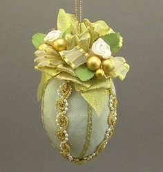 """Judith"" by Towers and Turrets - Pastel Mint Green Moire Faille Fabric Easter Egg Christmas Ornament with Parchment Roses - Victorian Inspired, Handmade Towers and Turrets"