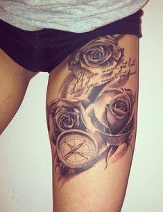 compass and roses Trendy Tattoos, Sexy Tattoos, Cute Tattoos, Beautiful Tattoos, Body Art Tattoos, Sleeve Tattoos, Tattoos For Women, Tatoos, Maori Tattoos