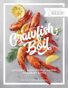 Every year I design a flyer for our crawfish boil : graphic_design food poster Food Graphic Design, Food Poster Design, Web Design, Food Design, Graphic Design Inspiration, Flyer Design, Layout Design, Menue Design, Restaurant Poster