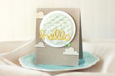 Lawn Fawn - Scripty Hello Lawn Cuts die, Stitched Scalloped Border Lawn Cuts die, Circle Stackable Lawn Cuts dies, Blue Skies _ card by Elena for Lawn Fawn Design Team