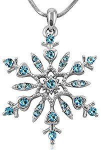 "Beautiful Large 1-1/4"" Silver Tone Snowflake Light Blue Crystal Pendant Necklace Winter Bridal Fashion"