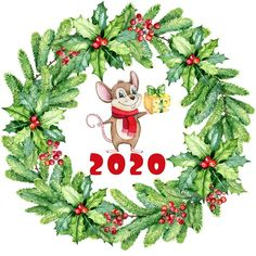 Christmas Animals, Christmas Images, Christmas Art, Christmas And New Year, Christmas Decorations, Christmas Ornaments, Cute Rats, Flower Logo, Cute Mouse