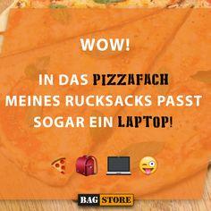 """""""Wow! In das Pizzafach meines Rucksacks passt sogar ein Laptop!""""  Hehe, jaaa was so ein Rucksack mit Laptopfach alles kann 😂"""
