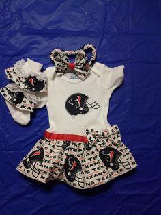 Houston Texans Baby Onesie Set w/ Matching headband & socks. $20.00, via Etsy.