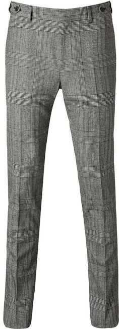 $645, Grey Plaid Wool Dress Pants: Marc Jacobs Wool Glen Plaid Pants. Sold by STYLEBOP.com. Click for more info: http://lookastic.com/men/shop_items/26501/redirect