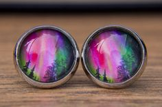 Polar Light Earrings, Aurora Borealis, Aurora Australis, Northern Lights, Southern Lights, Small Studs, Glass Dome Earrings, Post Earrings by JewelleryChain on Etsy https://www.etsy.com/listing/206684633/polar-light-earrings-aurora-borealis