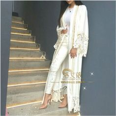 White Dubia Style Lace Trim Abaya Jilbab Muslim Islamic Maxi Dress