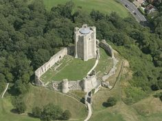 Aerial view of Conisbrough Castle, looking east
