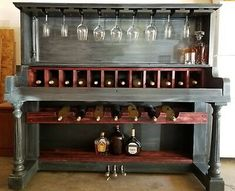 Corner Liquor Cabinet, Drinks Cabinet, Piano Crafts, Wood Crafts, Round Bar Table, Old Pianos, Bar Furniture, Furniture Refinishing, Pallet Furniture