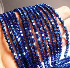 Name of gems: Hematite  Size of beads : 4 mm Shape :Faceted hexagon Color: mystic blue Length:approx 16 inch - 40cm Quality :AA  Cut: hexagon Description:You will receive the same quality has you see in picture.Always--very nice faceted hematite Quantity:1 strand for 97 to 100 beads- pcs  Condition:new  Packing: Bubble wrap  We answer all convo within a few hour.  For more great gemstone visit our shop fallinlovegems.etsy.com  Thank you  CODE: PHG42    Note 1: Hematite with a electroplating…