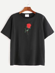 Black Rose Embroidered Short Sleeve T-shirt