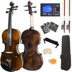 Mendini 4/4 MV500+92D Flamed 1-Piece Back Solid Wood Violin with Case, Tuner, Shoulder Rest, Bow, Rosin, Bridge and Strings - Full Size, 2016 Amazon Top Rated Band & Orchestra #MusicalInstruments