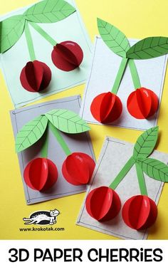 """The post Paper Cherries"""" appeared first on Pink Unicorn activities Older Kids Crafts, Summer Crafts, Preschool Crafts, Easy Crafts, Diy And Crafts, Craft Projects, Arts And Crafts, Paper Crafts, Craft Kids"""
