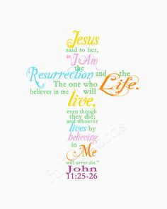 25) JESUS said unto her, I AM the Resurrection, and the Life: he that believeth in ME, though he were dead, yet shall he live: 26) And whosoever liveth and believeth in ME shall never die. Believest thou this?  John 11:25-26 (KJV)                                      |     Easter/Spring Scripture Verse John 11:25-26  5x7 by fullerwords