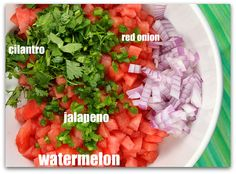 so cold & juicy & refreshing in hot weather, but if you have a few leftover wedges, make this Watermelon Salsa for dipping chips and topping fish. Pickled Watermelon Rind, Watermelon Pickles, Grilled Watermelon, Watermelon Recipes, Raw Food Recipes, Healthy Recipes, Healthy Homemade Snacks, Healthy Eating, Favorite Recipes