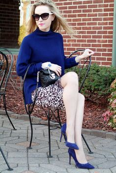 Elie-Tahari-navy-blue-sweater-with-suede-navy-blue-Jessica-Simpson-heels-and-leopard-print-pencil-skirt,-urban-chic-2
