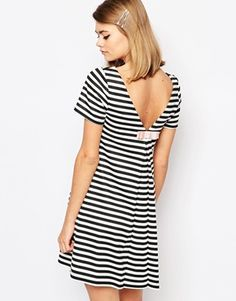 Reclaimed Vintage X Liquid Lunch Striped Shift Dress With Bow Back
