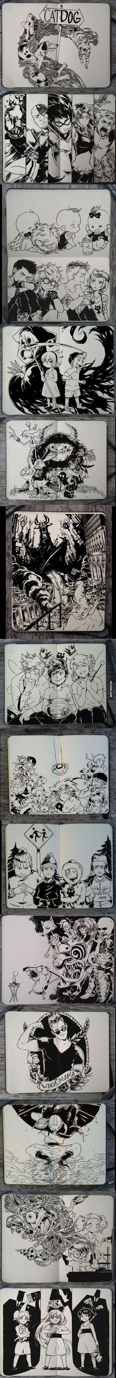 My childhood cartoons in real manga style. Except for South Park, that's NOT for kids: