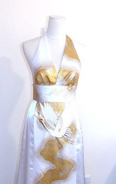 Wedding dress made with vintage bridal KIMONO halter by Shantique