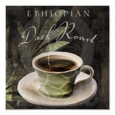 Coffee Art, Ethiopian Dark Roast, African Coffees Posters