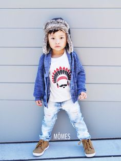 "Perfect outfit! Petit Évan is looking so rad in our #MÔMES ""Chief"" tee & his @dudleydenim distressed jeans! www.momes-store.com (link in profile) ✖️All designs are also available in long sleeves tees as well as baby onesies✖️ #handcrafted#newdesign#organic#organiccotton#tee#tshirt#dudleydenim#denim#model#brandrep#model"