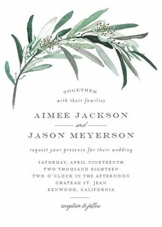 This clean modern wedding invitation features a eucalyptus branch arching over your wedding wording in soft gray and green colors. Cheap Wedding Invitations, Wedding Stationary, Invitations Online, Invitation Templates, Event Invitations, Invites, Corona Floral, Watercolor Wedding Invitations, Botanical Wedding Invitations