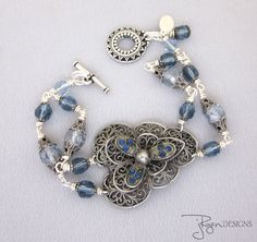 Art Deco Silver Blue Bracelet Vintage Repurposed Jewelry Designs by jryendesigns