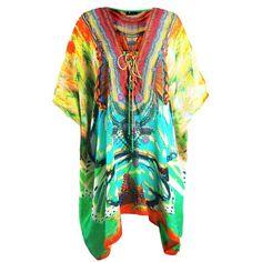 Kaftan Dress ($369) ❤ liked on Polyvore featuring dresses, short caftan dress, kaftan dresses, short kaftan dress, short dresses and laced dress