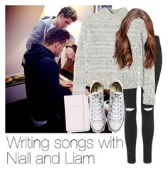 """Writing songs for Niall and Liam"" by style-with-one-direction ❤ liked on Polyvore featuring Topshop, Rebecca Taylor, Converse, Kate Spade, LiamPayne, 1d, NiallHoran and niall horan one direction 1d"