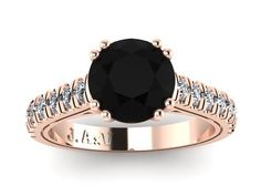 Black Diamond Engagement Ring White Diamond Weding Ring 14K Rose Gold Ring with 7mm Round Black Diamond Center - V1029 on Etsy, $1,550.00