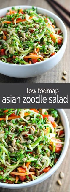 Fresh and colorful, this 10-minute Low Fodmap Asian Zoodle Salad is delish. Make this fast and flavorful salad recipe for a light lunch or serve with shrimp for a quick supper.