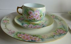 set of 4 Haviland Limoges Wild Rose China 3 piece place setting c from thecherishedhome on Ruby Lane