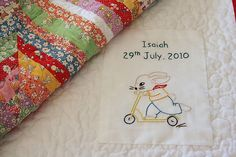 How-Tuesday: Make a Quilt Label   The Etsy Blog ... I like the hand embroidery label. Good way to incorporate personality into the quilt.