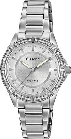Amazon.com: Drive From Citizen Eco-Drive Women's Quartz Stainless Steel Casual Watch, Color: Silver-Toned (Model: FE6060-51A): Watches